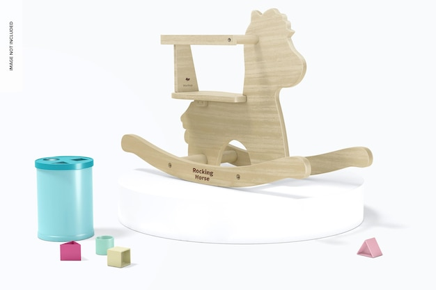 Maquette de cheval à bascule en bois pour bébé