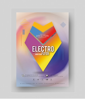 Maquette Colorée D'affiche De Partie électro PSD Premium