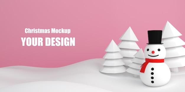 Maquette commerciale de noël bonhomme de neige