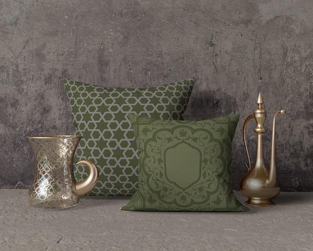 Maquette de composition de ramadan avec oreillers