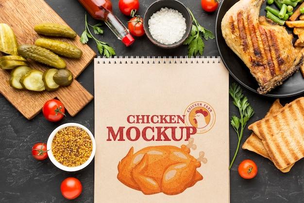 Maquette de composition de repas de poulet