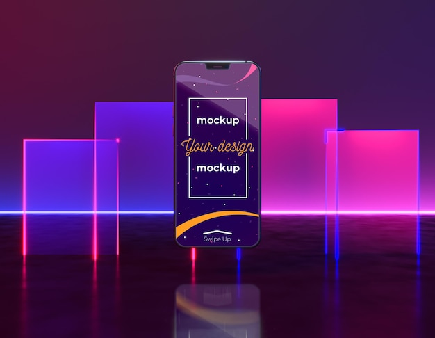 Maquette de concept d'appareil au néon