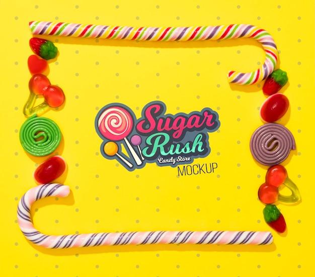 Maquette De Concept De Bonbons Délicieux Psd gratuit