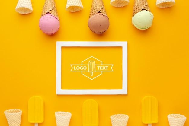 Maquette de concept de crème glacée délicieuse