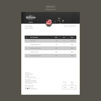 Maquette de concept de facture de restaurant de nourriture moody