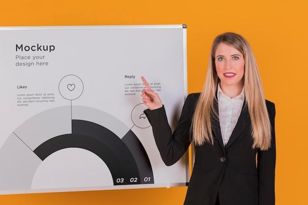 Maquette de concept femme heureuse femme d'affaires