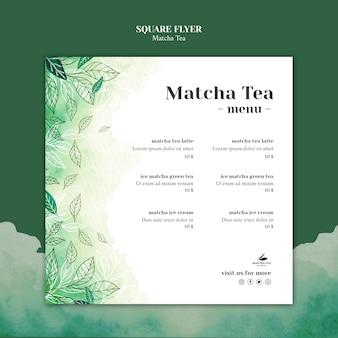 Maquette de concept de flyer carré de thé matcha