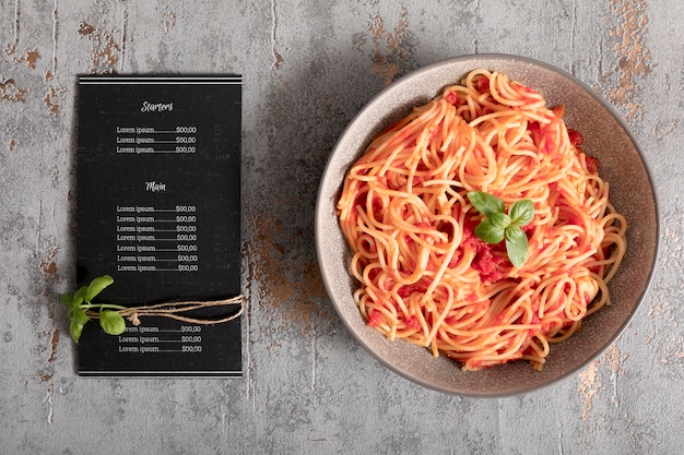 Maquette de concept de menu de cuisine italienne