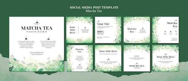 Maquette de concept de modèle de publication de médias sociaux de thé matcha