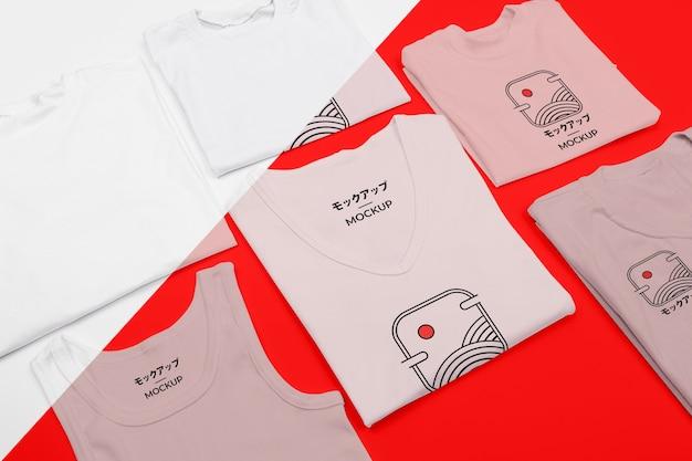 Maquette de concept de t-shirt à angle élevé