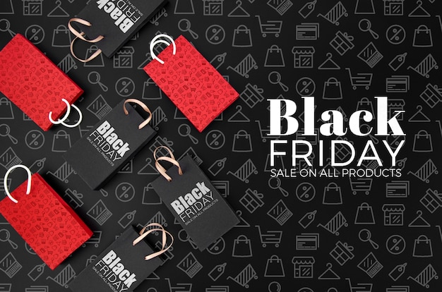 Maquette concept vendredi noir sur fond noir