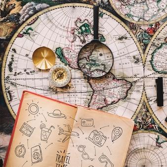 Maquette de concept de voyage vintage avec journal