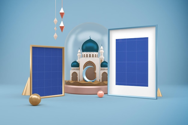 Maquette de conception de cadres ramadan