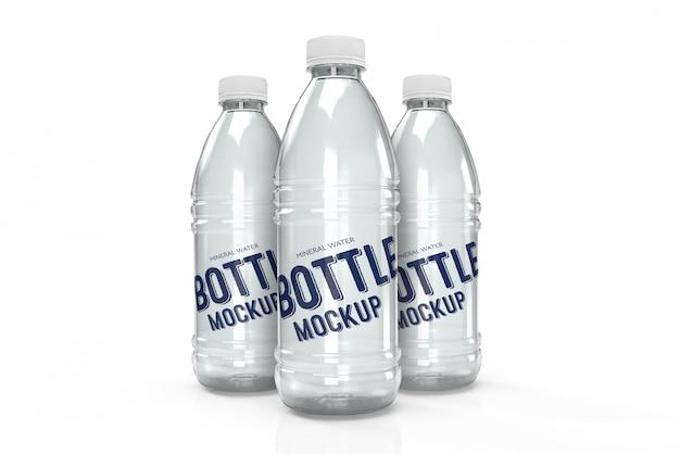 Maquette de conception d'emballage 3d de trois bouteilles d'eau en plastique