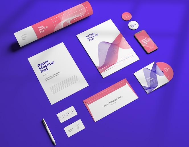 maquette de conception de marque fixe d'entreprise avec des couleurs variables