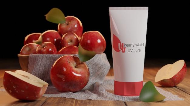 Maquette conception de produit pomme aura uv blanc nacré psd, rendu de modèle 3d.