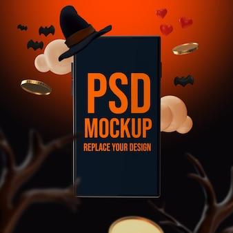 Maquette de conception de smartphone halloween rendu 3d