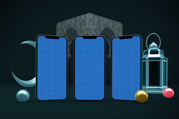 Maquette de conception de téléphone intelligent ramadan