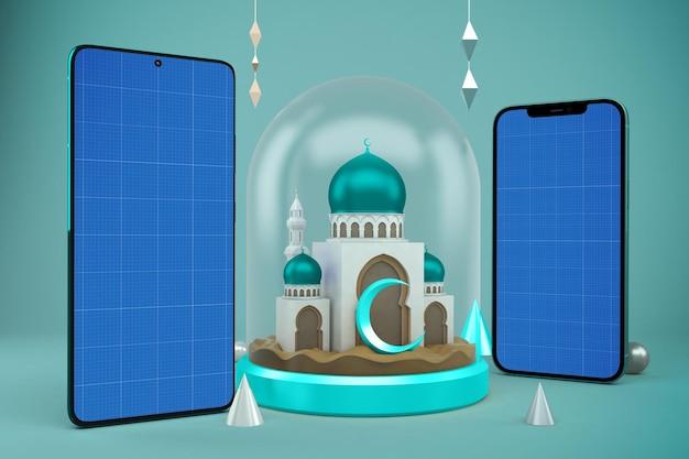 Maquette de conception de téléphones intelligents ramadan