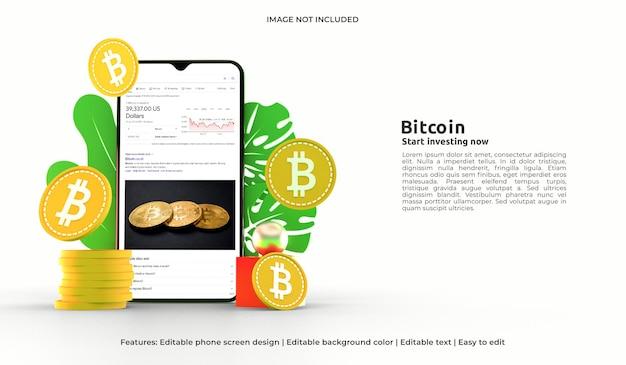 Maquette de conception web 3d de la crypto-monnaie