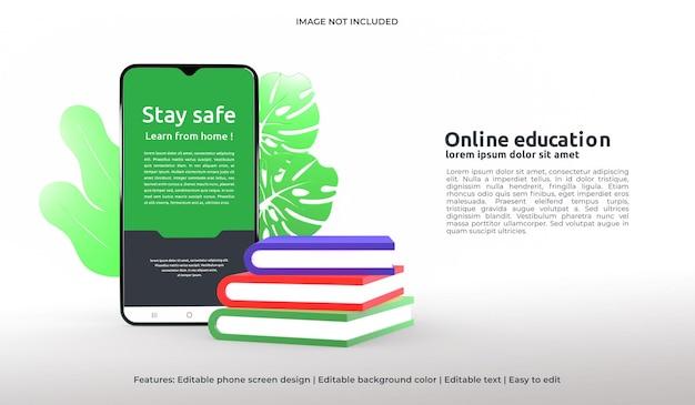 Maquette de conception web 3d de l'éducation en ligne