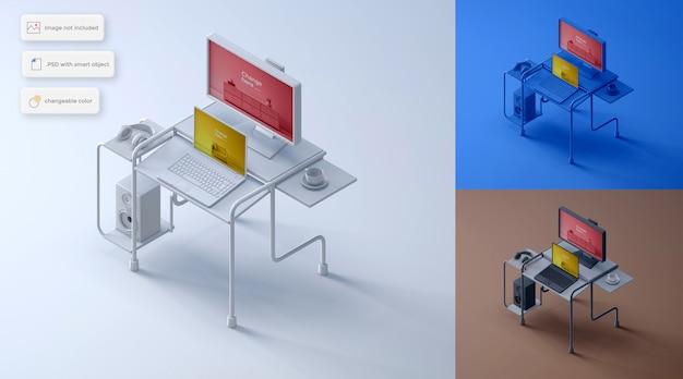 Maquette de configuration pour ordinateur portable et moniteur