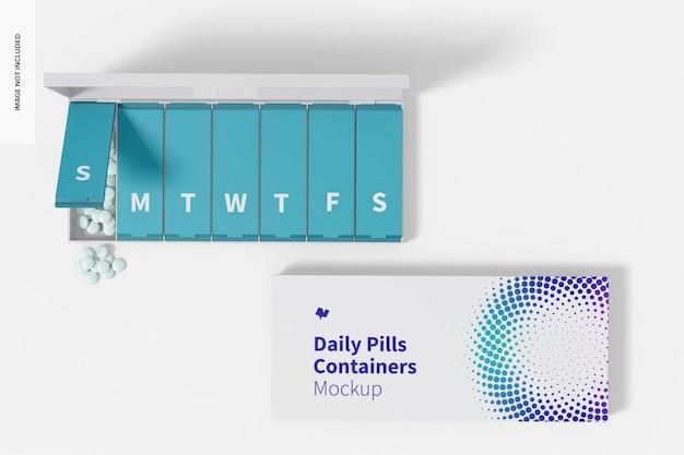 Maquette de contenants de pilules quotidiennes, vue de dessus