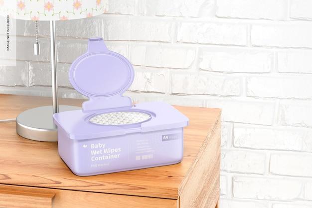 Maquette de conteneur de lingettes humides pour bébé, ouverte