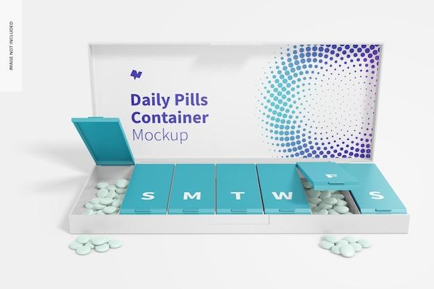 Maquette de conteneur de pilules quotidiennes, vue de face