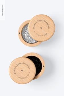 Maquette de conteneurs d'épices en bambou, vue de dessus