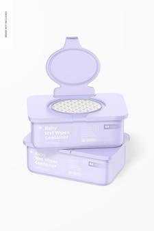 Maquette de conteneurs de lingettes humides pour bébé, empilés