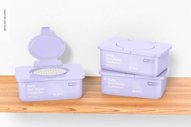 Maquette de conteneurs de lingettes humides pour bébé