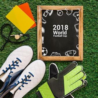 Maquette de coupe du monde de football avec ardoise