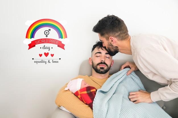 Maquette de couple gay et de fond