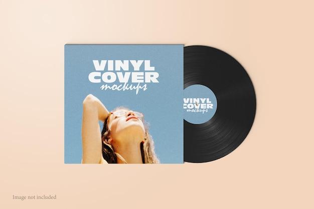 Maquette de couverture de disque vinyle vue de dessus
