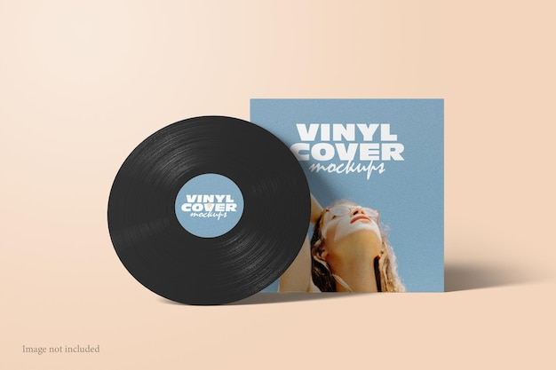 Maquette de couverture de disque vinyle vue de face