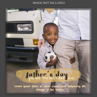 Maquette de couverture de fête des pères avec un garçon