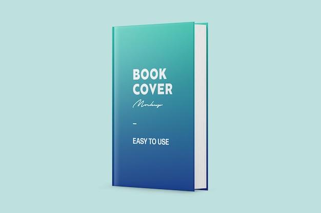Maquette de couverture de livre debout brillant bleu