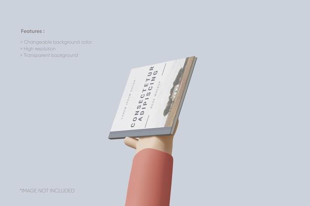 Maquette de couverture de livre avec la main 3d