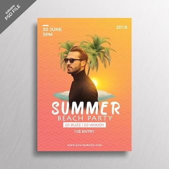 Maquette de couverture de plage d'été