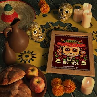 Maquette de crâne floral sur une table décorative de fête