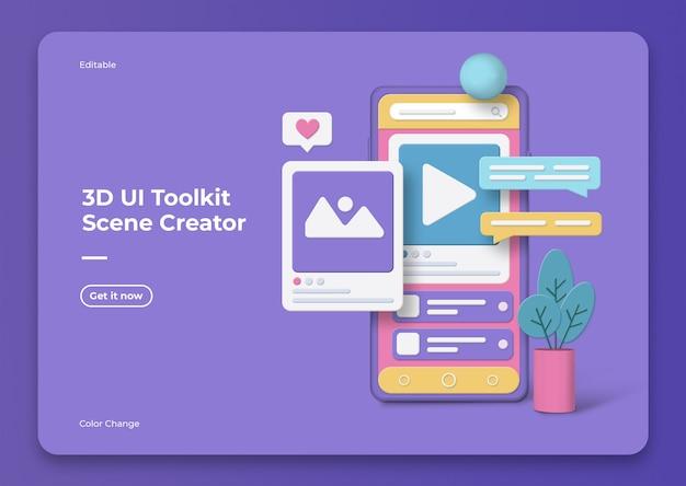 Maquette de créateur de scène 3d ui toolkit