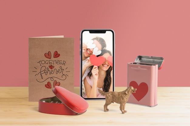 Maquette de créateur de scène modifiable avec le concept de la saint-valentin