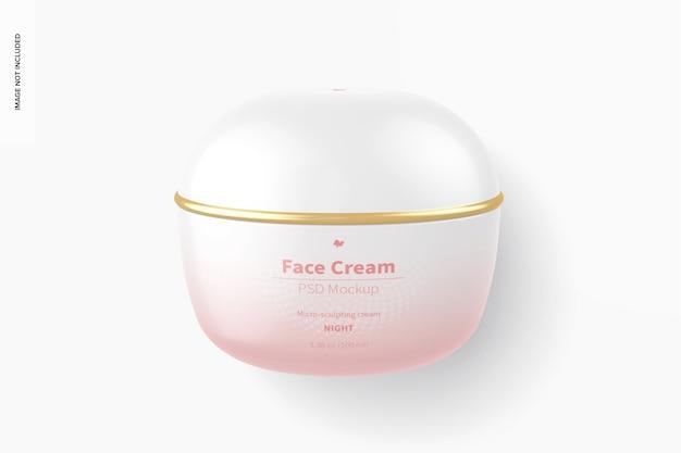 Maquette de crème pour le visage, vue de dessus