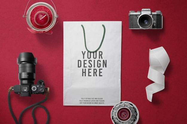 Maquette de décoration pour appareil photo pour sac en papier