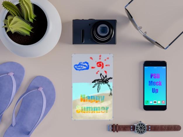 Maquette Décorative D'été Avec Smartphone PSD Premium