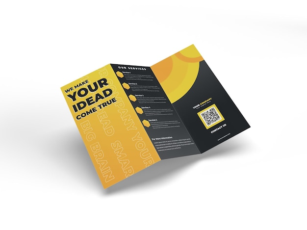 Maquette de dépliant de brochure réaliste à trois volets a4 pour le profil de l'entreprise publicitaire et l'identité de la marque