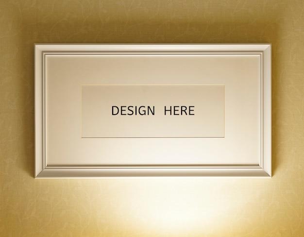 Maquette design ici signe vieux cadre en bois et photo texture de mur