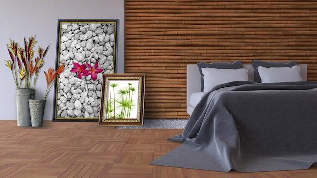 Maquette de design d'intérieur avec des cadres appuyés contre le mur dans la chambre
