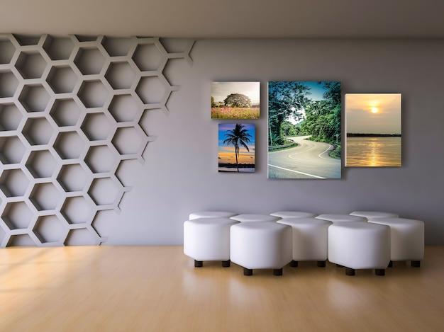 Maquette de design d'intérieur avec des cadres dans le salon moderne